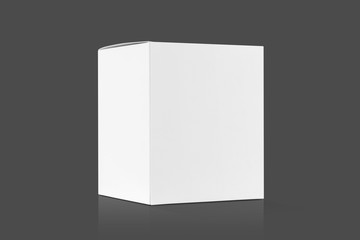 white cardboard box isolated on gray background