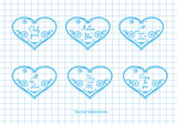 Hearts with love inscriptions, vector .Vector Valentines.
