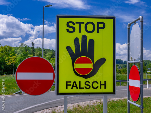 traffic sign stop, false direction, Austria © pwmotion