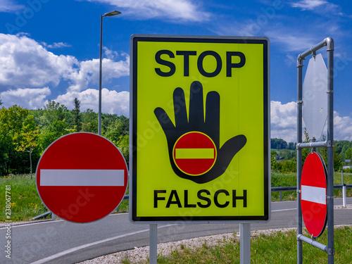 traffic sign stop, false direction, Austria © pwmotion