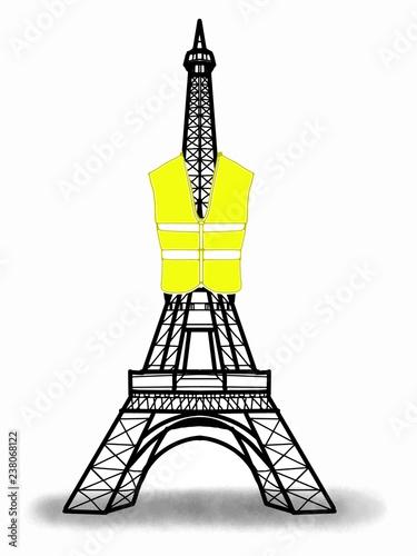 Eiffel Tower wearing  yellow vest  illustration - 238068122