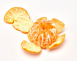 ripe tangerine on a white background. macro photography