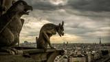 Gargoyles on the Cathedral of Notre Dame de Paris overlooking Paris, France