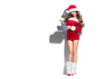 Beauty Christmas fashion model girl with Xmas gift boxes, wearing red Santa Claus dress and hat holding gifts. Sexy brunette young woman portrait