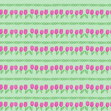 Seamless pattern with watercolor hand drawn pink tulips and green dots on light green background. Background can be easily change for another color