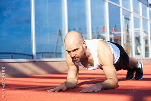 Man doing plank training