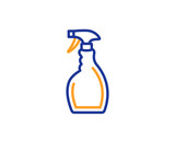 Cleaning spray line icon. Washing liquid or Cleanser symbol. Housekeeping equipment sign. Colorful outline concept. Blue and orange thin line color icon. Spray Vector - 238090768