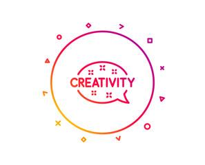 Creativity speech bubble line icon. Graphic art sign. Inspiration symbol. Gradient pattern line button. Creativity icon design. Geometric shapes. Vector © blankstock