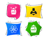 Honey icon. Honeycomb cells with bees symbol. Sweet natural food signs. Geometric colorful tags. Banners with flat icons. Trendy design. Vector