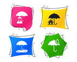 Life, Real estate or Home insurance icons. Umbrella with water drop symbol. Car protection sign. Geometric colorful tags. Banners with flat icons. Trendy design. Vector