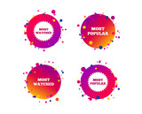 Most popular star icon. Most watched symbols. Clients or users choice signs. Gradient circle buttons with icons. Random dots design. Vector © blankstock