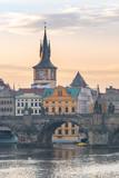 prague charles bridge view at morning, czech republic