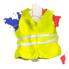 French protests concept. Yellow vests movement, 3D rendering
