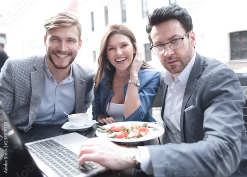 business team at lunchtime