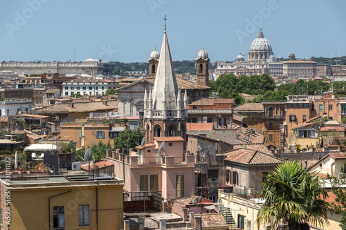 Amazing Panorama from Viale del Belvedere to city of Rome, Italy