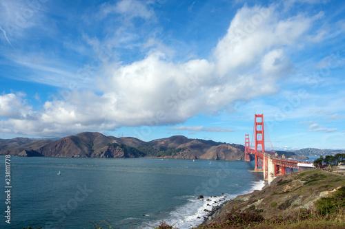 Famous Golden Gate Bridge landmark at San Francisco USA
