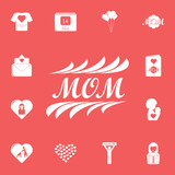 inscription mom icon. Detailed set of mother day icons. Premium graphic design. One of the collection icons for websites, web design, mobile app