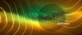 Neon glowing wave, magic energy and light motion background. Vector wallpaper template - 238118183