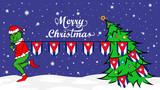 Grinch steals national flag of Cuba illustration. Green Ogre in Christmas poster
