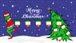 Grinch steals national flag of Ireland illustration. Green Ogre in Christmas poster - 238119318