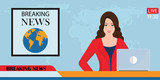 Headline or breaking news woman tv reporter presenter sitting in a studio.