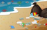 A pollution beach background - 238125512