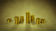 Stack of gold coins. Finance earning income concept. 3D render