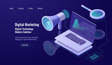 Digital marketing and promotion, online advertising, loudspeaker with laptop and magnifying glass, data researching and processing, dark neon - 238132117