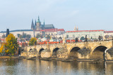 prague river bank and old town at background, czech republic © jon_chica