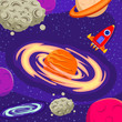 Space galaxy consist of rocket, planets, moon, asteroid, stars element background with hand drawn style vector illustration. Can use for wallpaper, kids room, card, banner, texture - 238134309