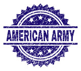 AMERICAN ARMY stamp seal watermark with distress style. Blue vector rubber print of AMERICAN ARMY text with dust texture.