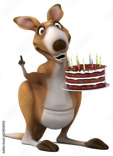 Fun kangaroo - 3D Illustration - 238138920