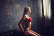 Quadro gorgeous and sensual woman in red lingerie in a dark room