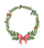 Watercolor vector Christmas wreath with green fir branches and red bow. - 238147106