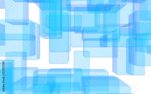 Blue and white abstract digital and technology background. The pattern with repeating rectangles. 3D illustration - 238152114