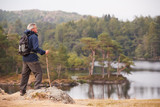 Middle aged man standing on a rock admiring the view of a lake, side view, Lake District, UK