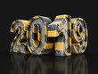 Leinwanddruck Bild - Metal New Year 2019. Image with clipping path.