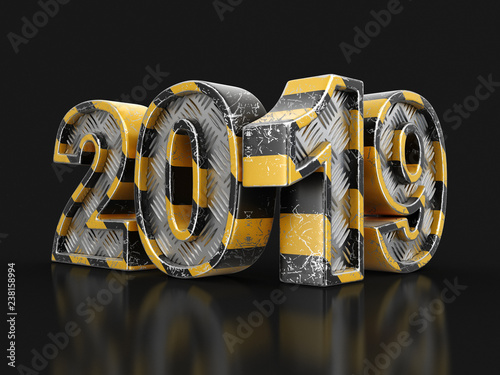 Leinwanddruck Bild Metal New Year 2019. Image with clipping path.