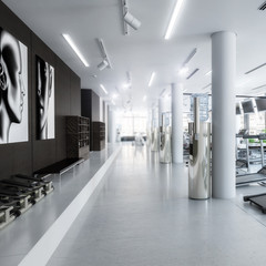 Treadmills in the fitness center (detail) - 3d visualization