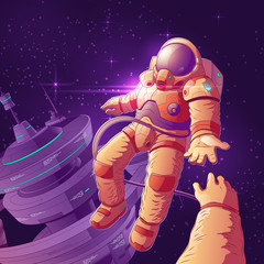 Future space tourists couple on orbit cartoon vector concept with astronaut in futuristic spacesuit flying in weightlessness among stars near starship, giving hand to colleague or friend illustration