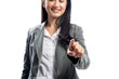 Beautiful asian business woman pointing something