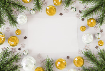 Christmas card mockup with golden baubles 3D rendering © sdecoret