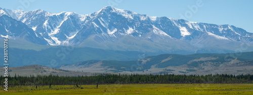Panorama of the mountains covered with snow, Northern Chuysky Range, Altai Republic, Russia - 238170776