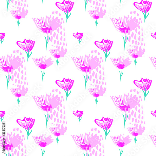 Beautiful Flowers Seamless Pattern with Hand Drawn Brush Strokes. Trend Print Wallpaper.Hand Drawn Illustration for Surface , Invitation , Notebook, Banner , Wrap Paper ,Textiles, Cover - 238172391