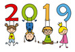 Happy New Year 2019. Children playing with numbers