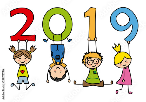 Happy New Year 2019. Children playing with numbers - 238172770