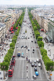 Paris aerial view of Champs Elysees from Arc de Triomphe to the Louvre