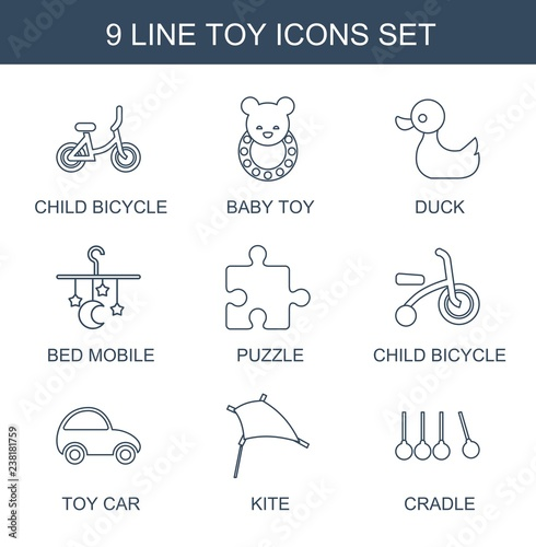 9 toy icons. Trendy toy icons white background. Included line icons such as child bicycle, baby toy, duck, bed mobile, puzzle, toy car, kite, cradle. toy icon for web and mobile.