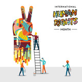 International Human Rights card of people teamwork