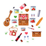 romantic picnic set with a guitar - 238193143